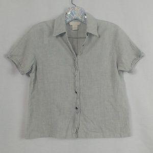J. Jill size 6 Gray Cotton Button Down Short Top